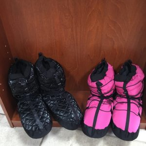 Black and hot pink dance warm-up booties