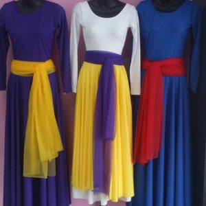 Colorful praise dance wear dresses, overlays, and sashes
