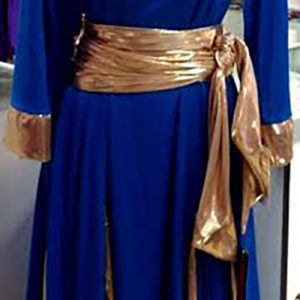 Long sleeve royal blue and gold metallic praise dance robe with metallic gold sash