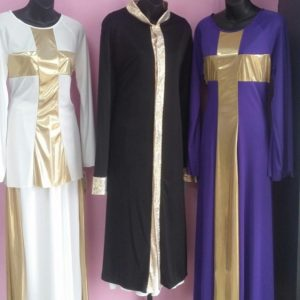 Praise dance top, pant, robe, and dress with metallic gold trim and cross outline