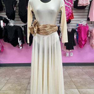 Long sleeve ivory leotard and praise skirt and metallic gold sash tied in a bow