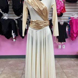 Long sleeve ivory leotard and praise skirt with a metallic gold sash wrapped around mannequin like a safety patrol belt