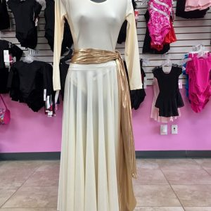 Long sleeve ivory leotard and praise skirt and metallic gold sash wrapped around mannequin hanging