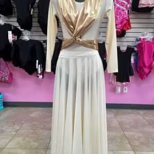 Long sleeve ivory leotard and praise skirt with a metallic gold sash wrapped around mannequin and crossed in the front